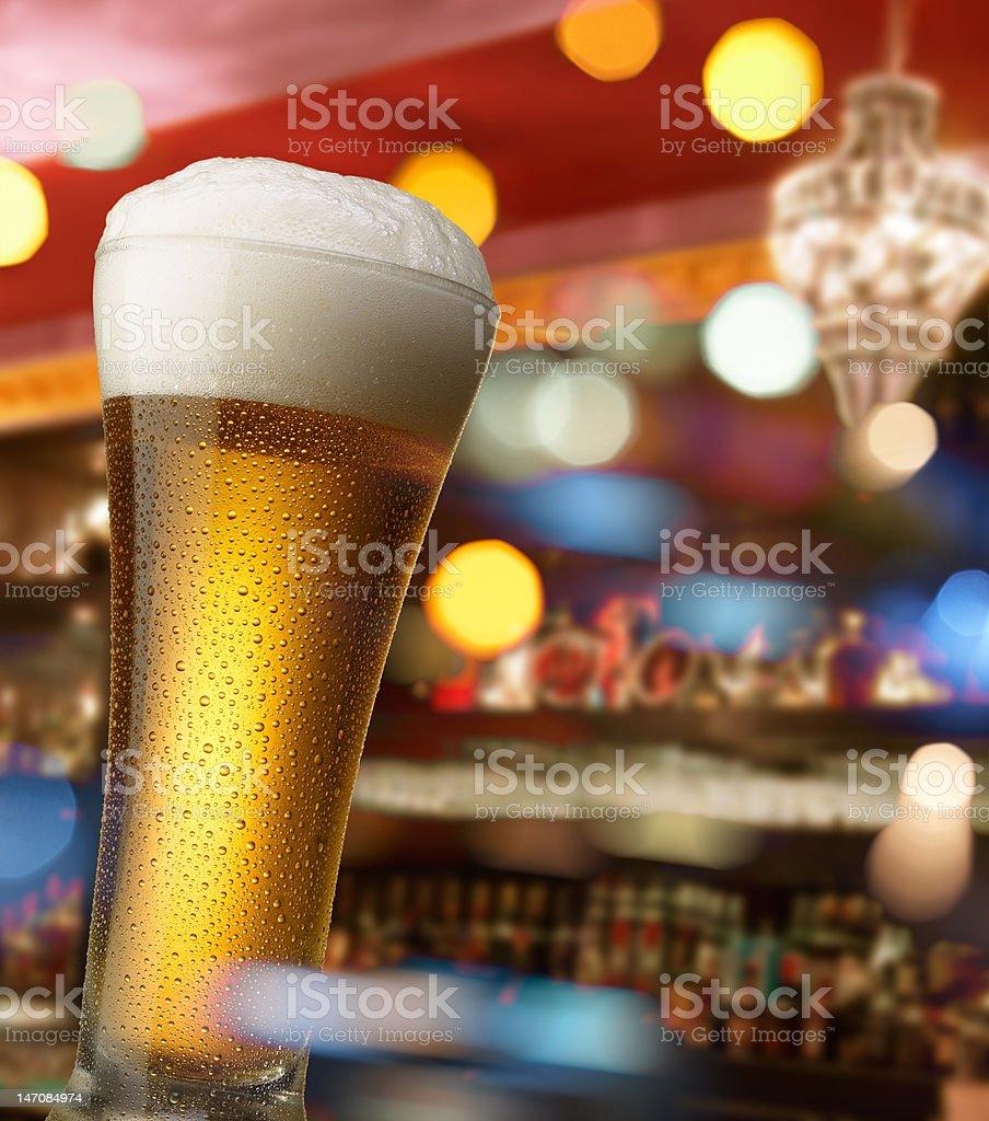 beer at bar counter stock photo