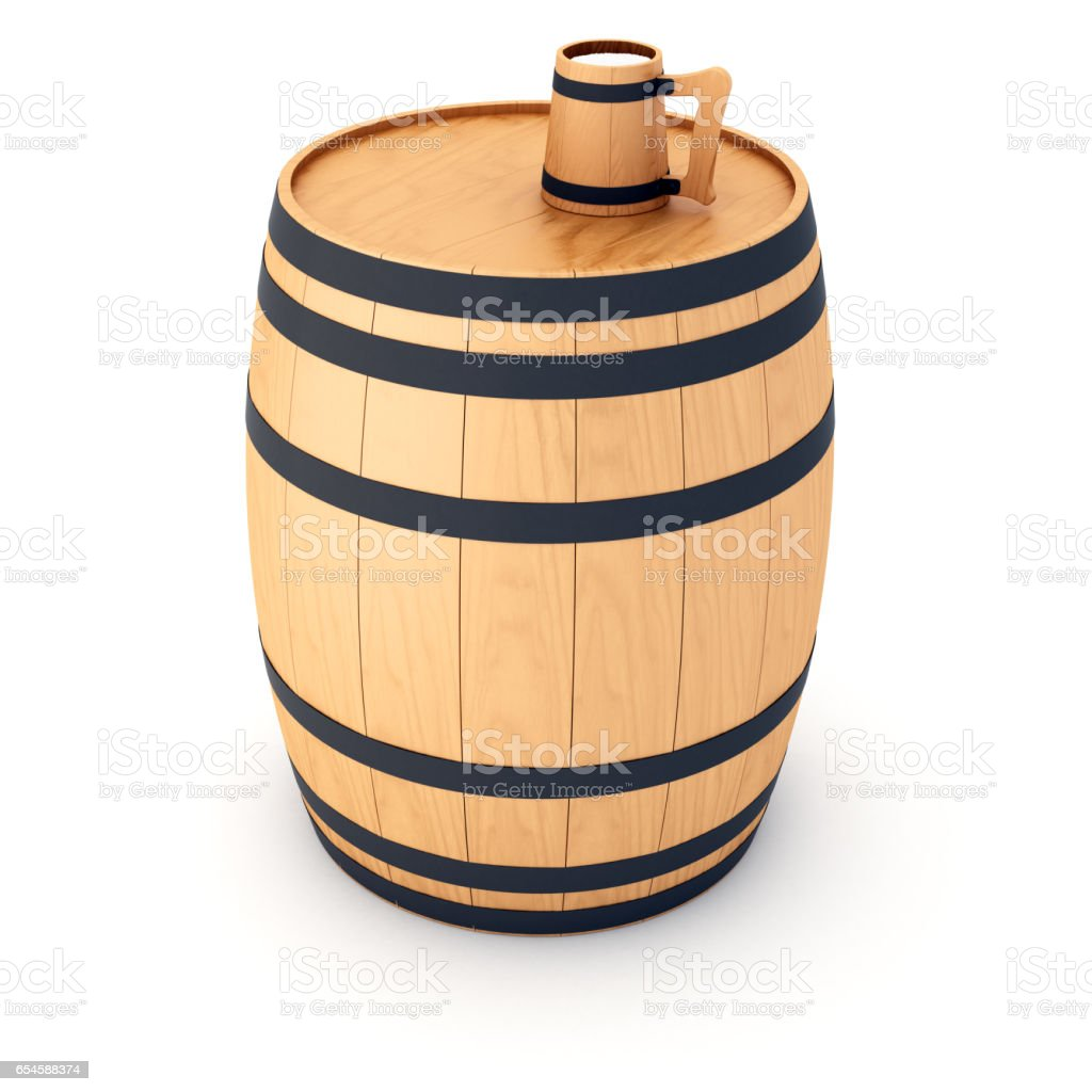 Beer barrel with Wooden mug stock photo