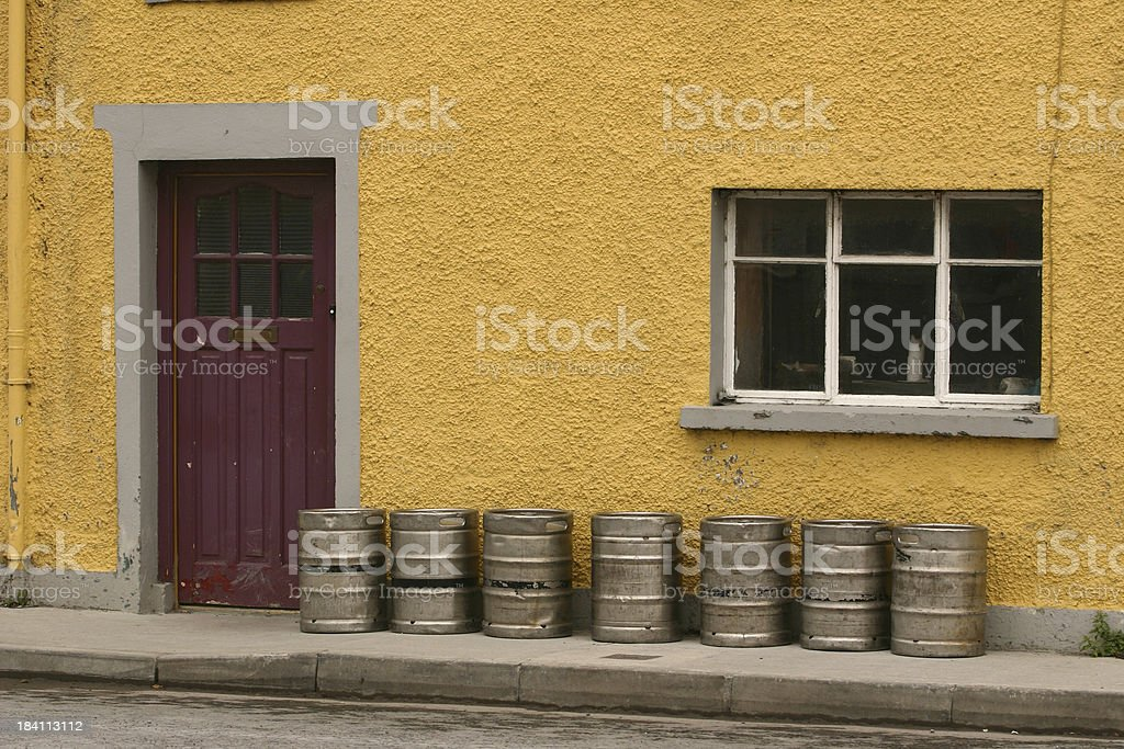 beer barrels outside a pub, Ireland stock photo