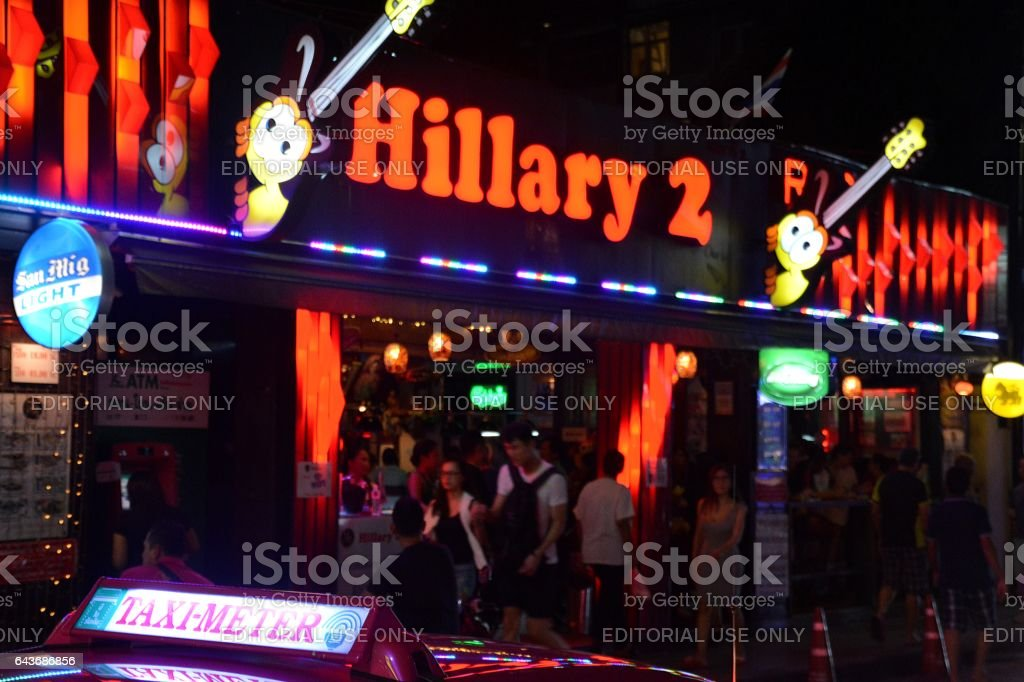 Beer bars at night in Nana, Sukhumvit, Bangkok stock photo
