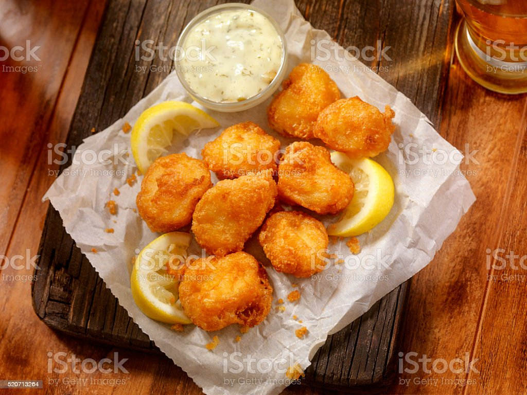 Beer Battered Fish Bites with Tarter Sauce stock photo