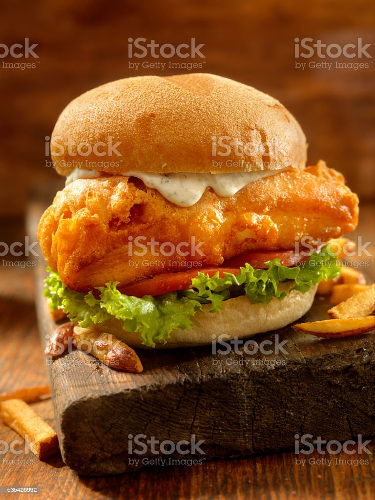 Beer Battered Fish Burger stock photo
