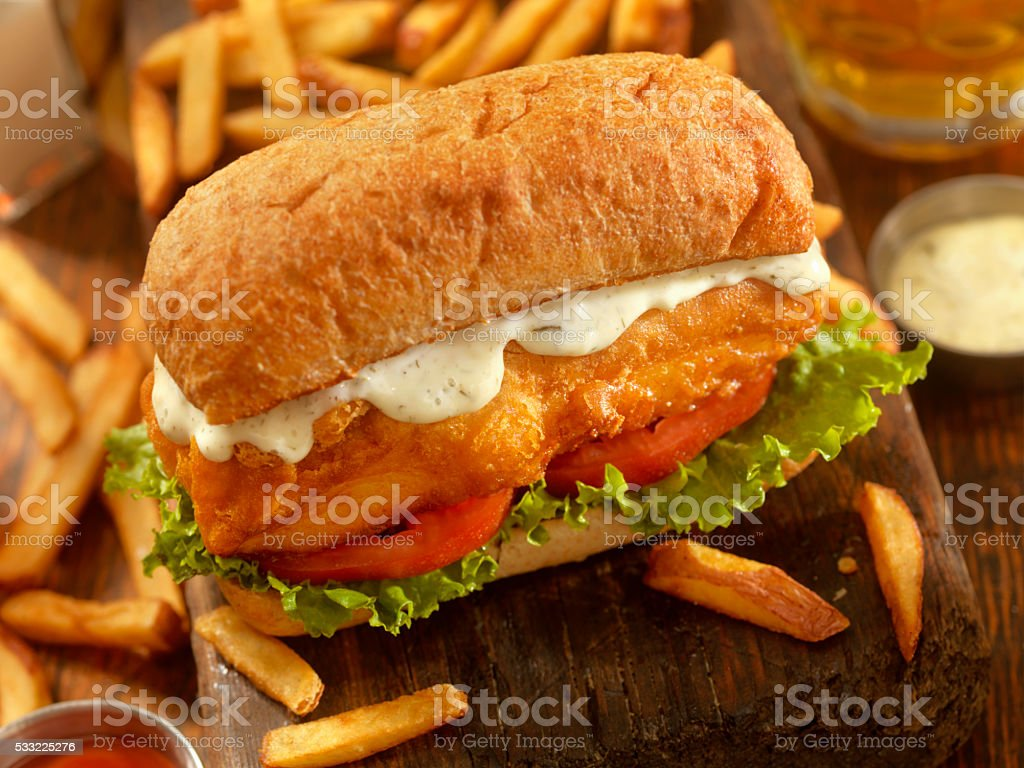 Beer Battered Fish Sandwich on a Ciabatta Bun stock photo