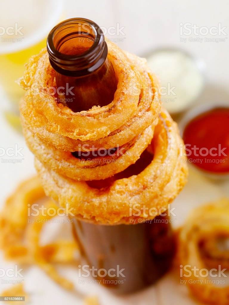 Beer Battered Onion Rings stock photo