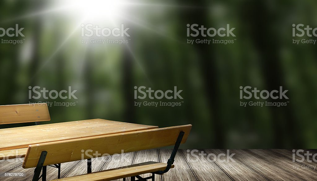 Beer bench set table and bench with backrest photo stock photo