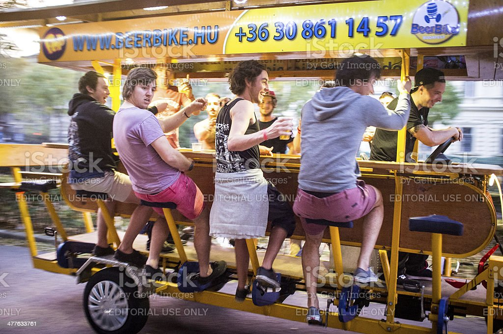 Beer bike rides in Budapest, Hungary royalty-free stock photo