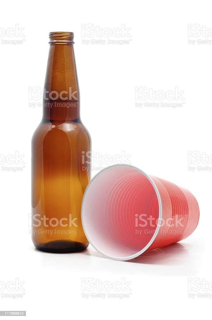 Beer Bottle & Plastic Cup royalty-free stock photo