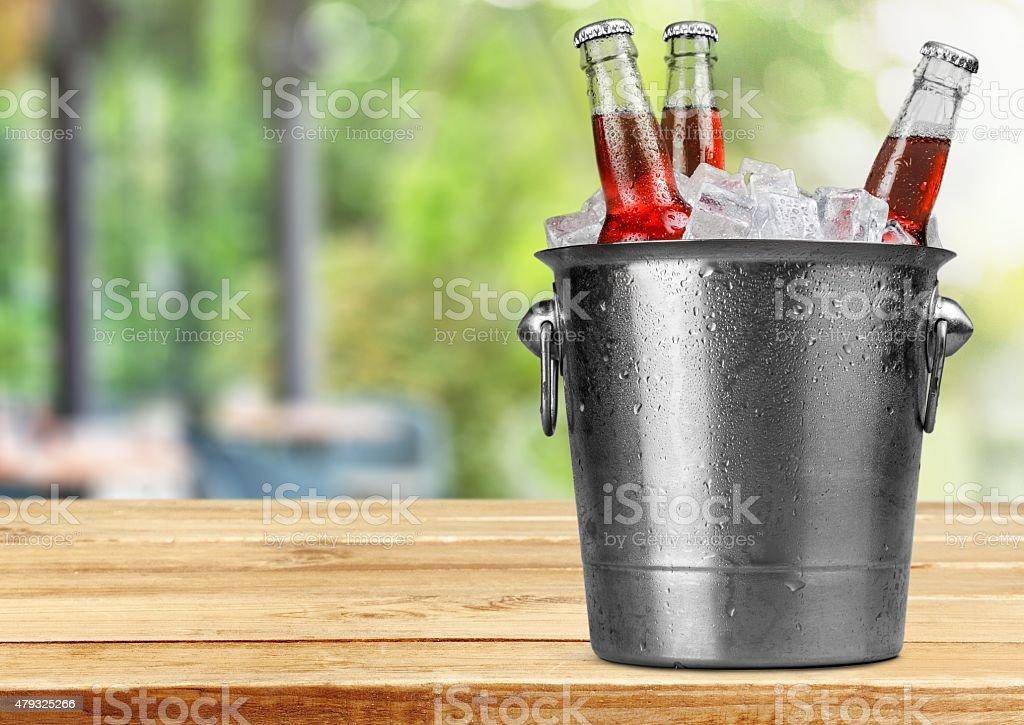 Beer Bottle, Beer, Bucket stock photo