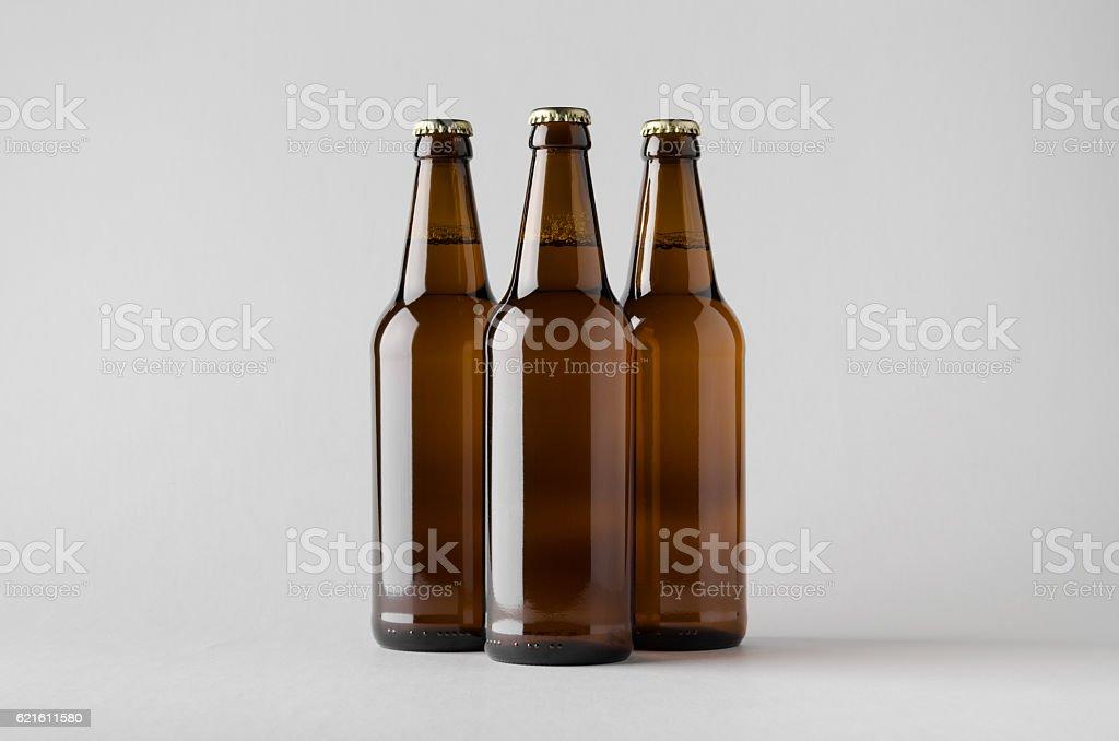 Beer Bottle Mock-Up - Three Bottles stock photo