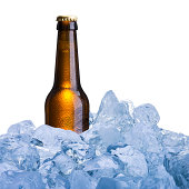 Beer Bottle on Ice Cube
