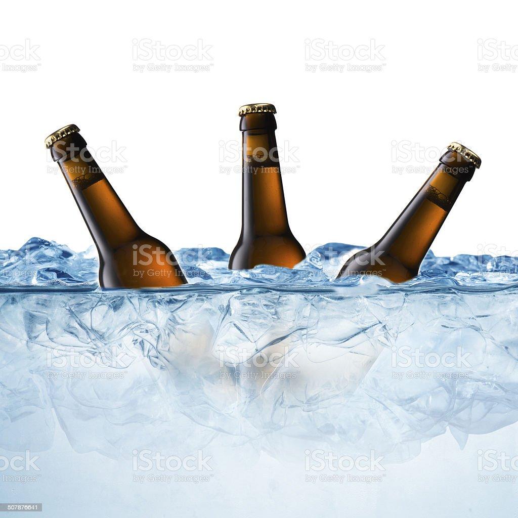 Beer Bottle on Ice Cube stock photo