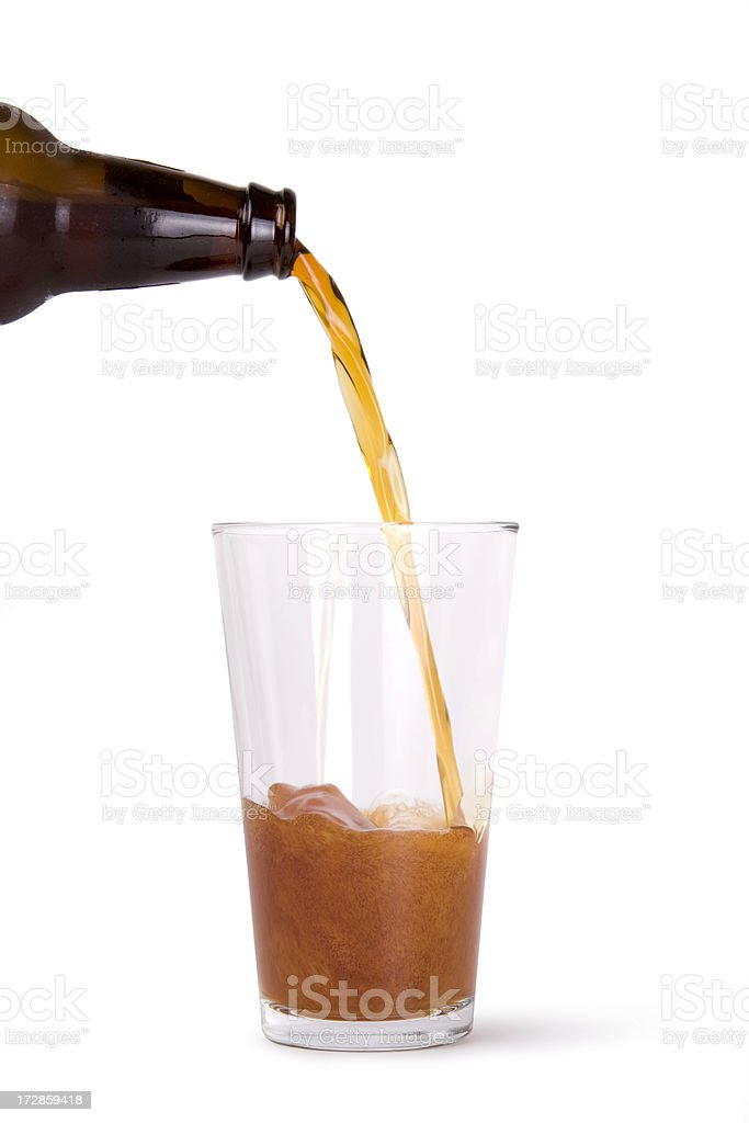 Beer Bottle Pouring royalty-free stock photo