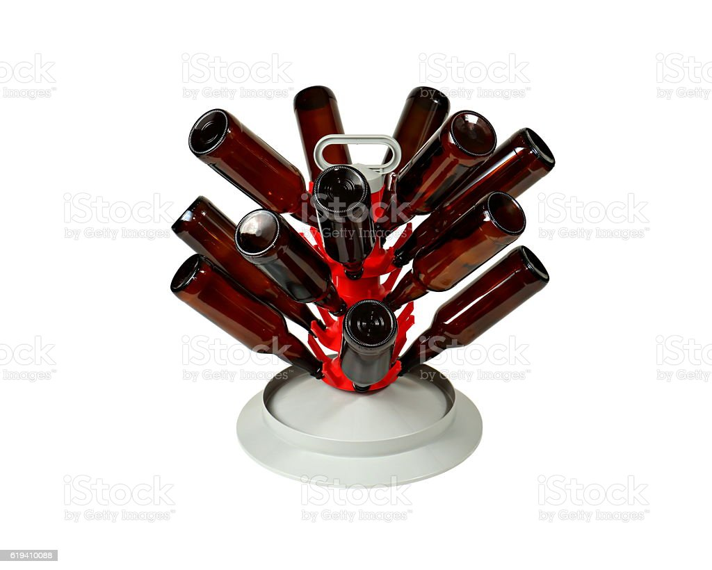 Beer Bottle Tree with Bottles on White Background stock photo