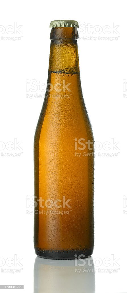 beer bottle, with condensation and cap royalty-free stock photo
