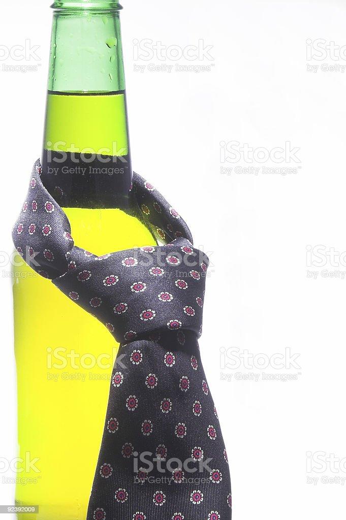 Beer Bottle with Necktie stock photo