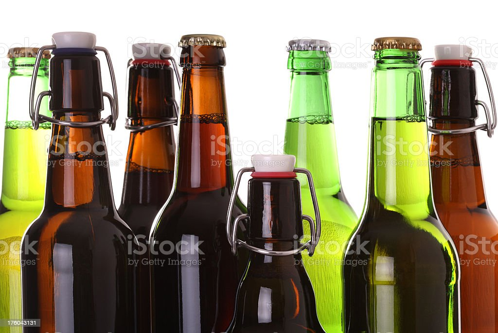 Beer Bottles Isolated on White royalty-free stock photo