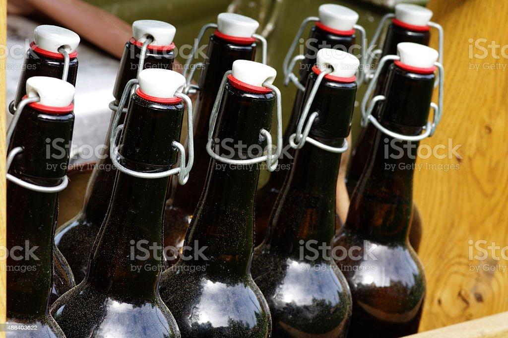 Beer bottles vintage stock photo