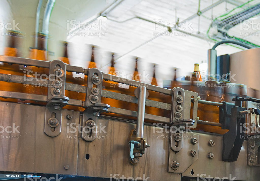 Beer Bottling in a Micro Brewery stock photo