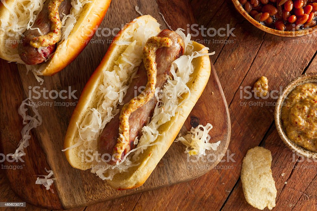 Beer Bratwurst with Sauerkraut stock photo