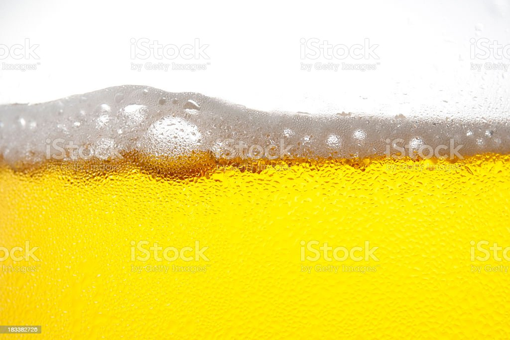 Beer bubble with dewy against white background royalty-free stock photo