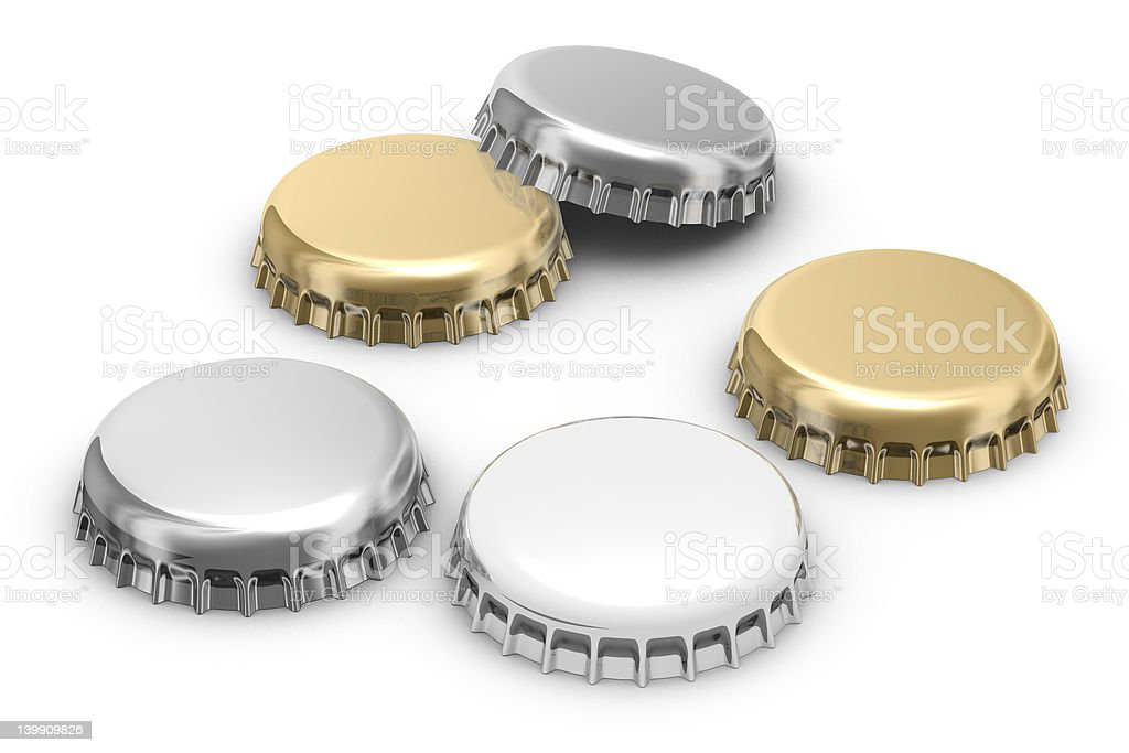 Beer caps (w clipping path) royalty-free stock vector art