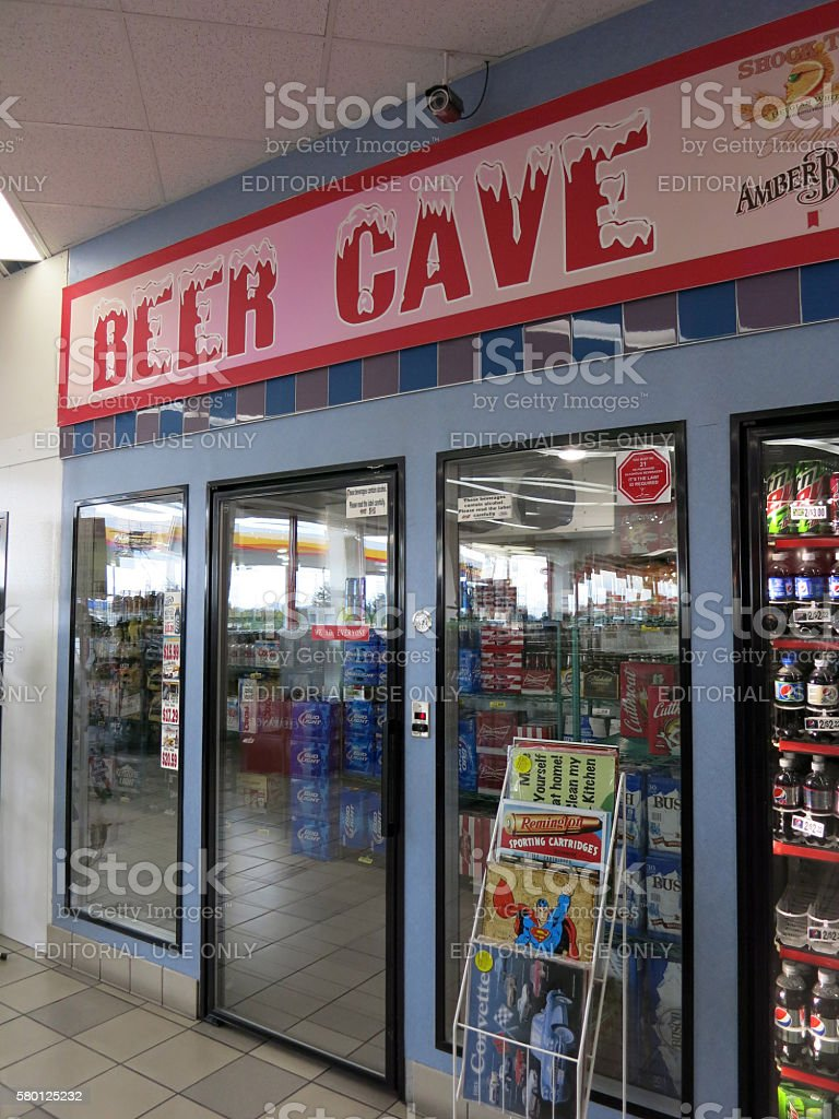 Beer Cave inside convenience store stock photo