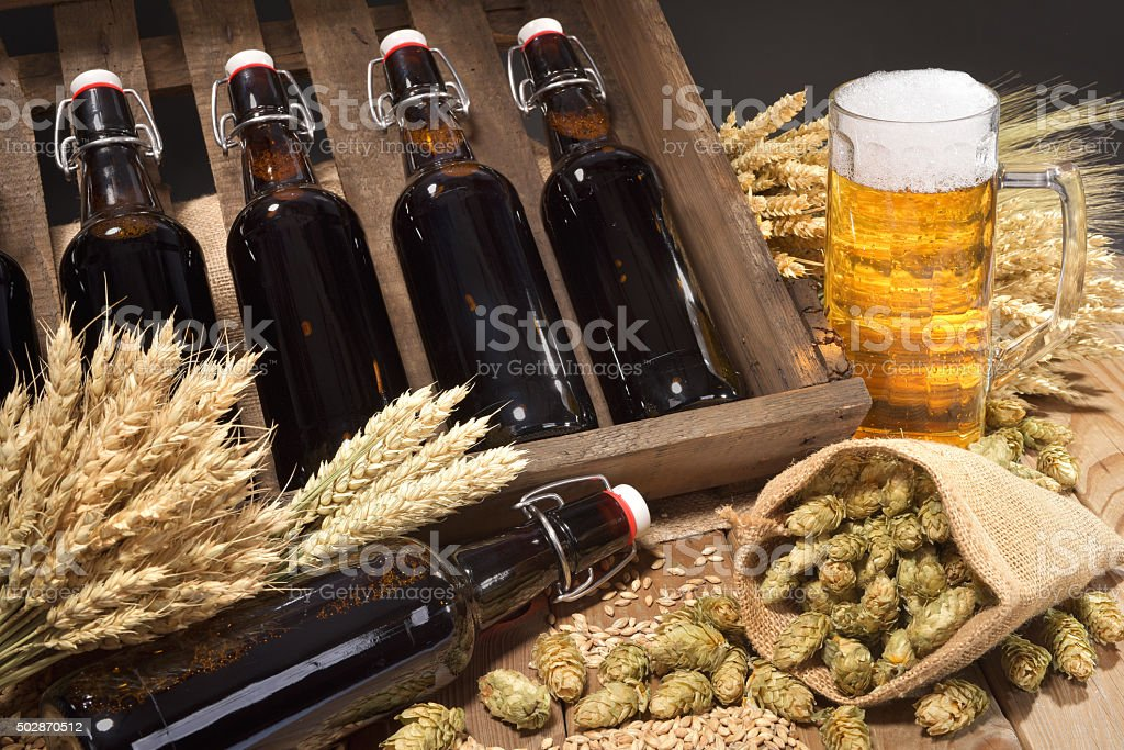 beer crate with beer glass stock photo