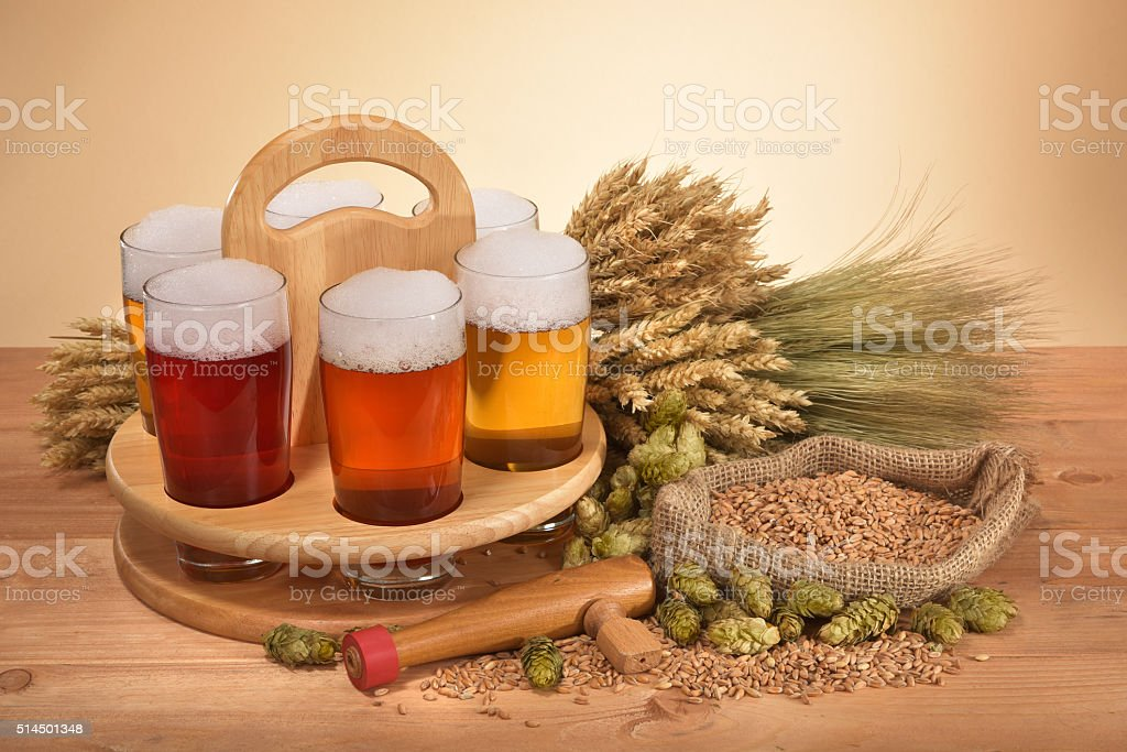 beer crate with beer glasses stock photo