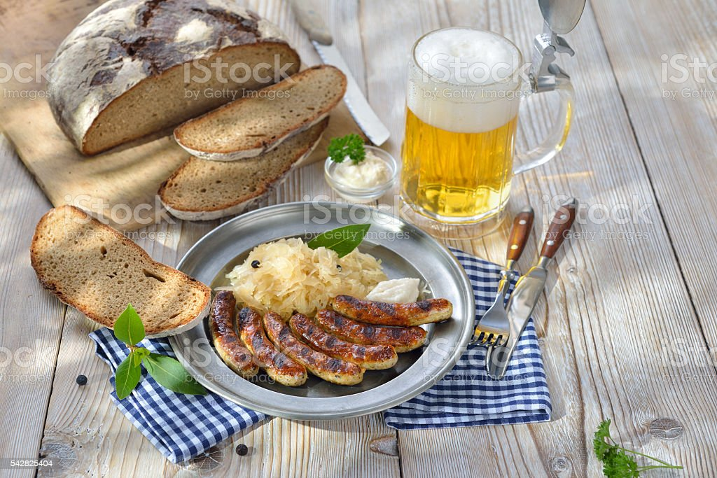 Beer garden meal stock photo