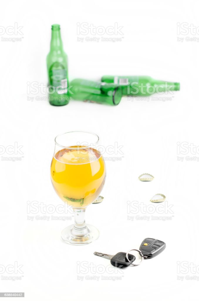 Beer Glass And Car Keys stock photo