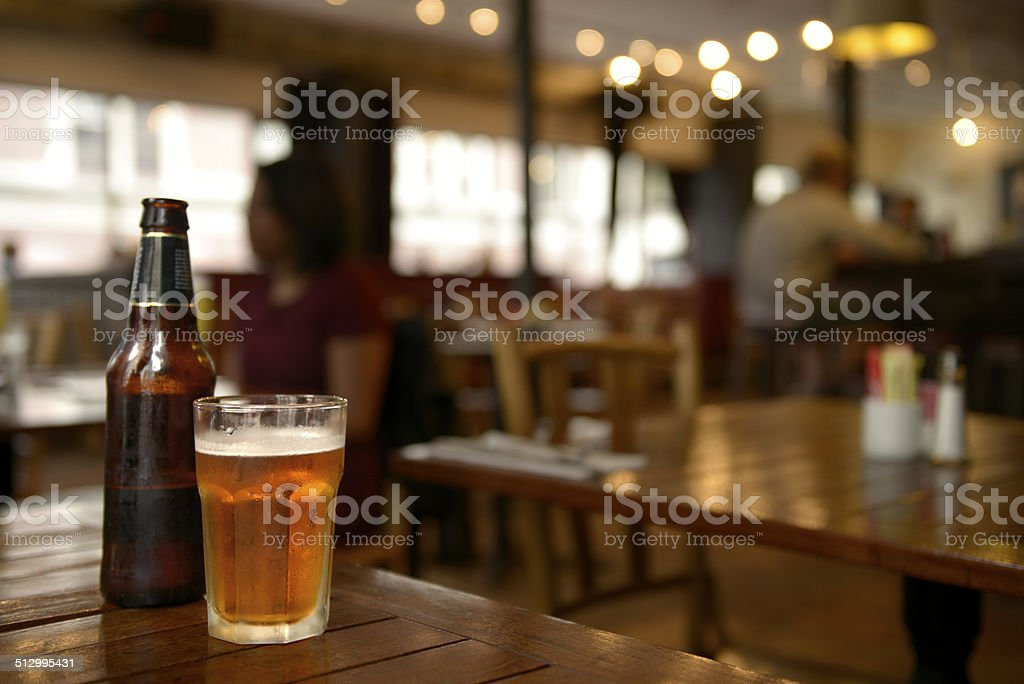 Beer Glass, NYC. stock photo