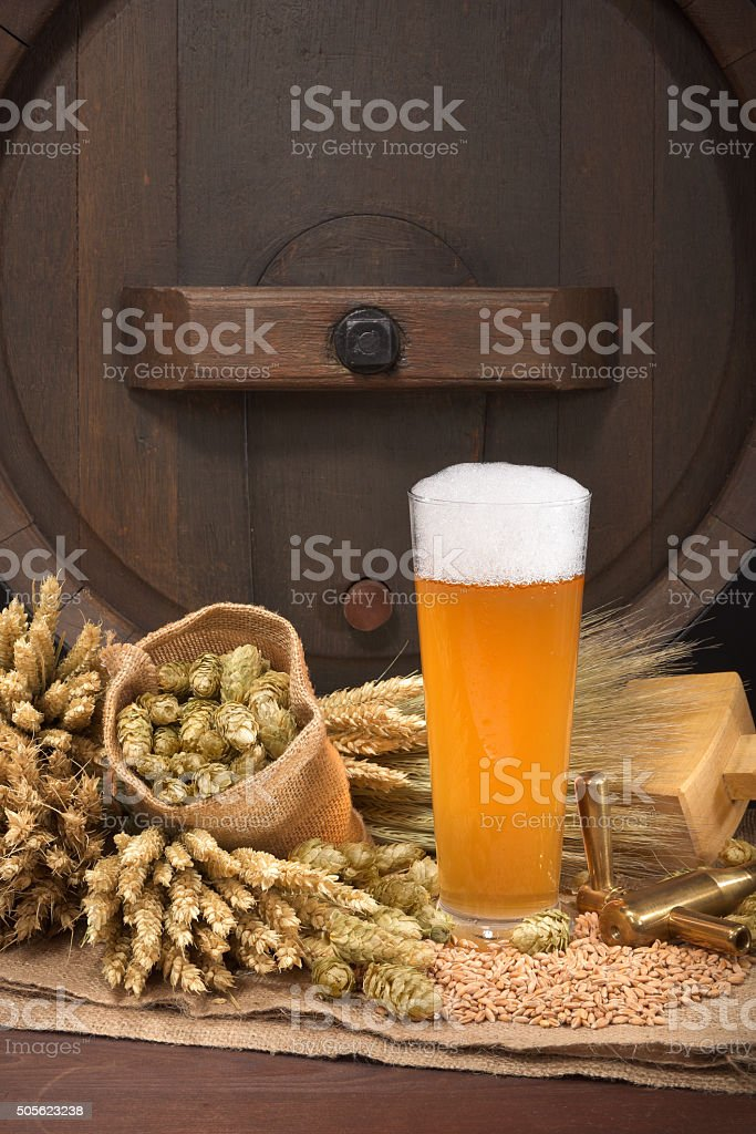 beer glass with barrel stock photo