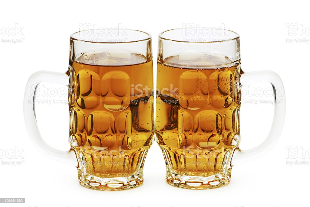 Beer glasses isolated on the white background stock photo