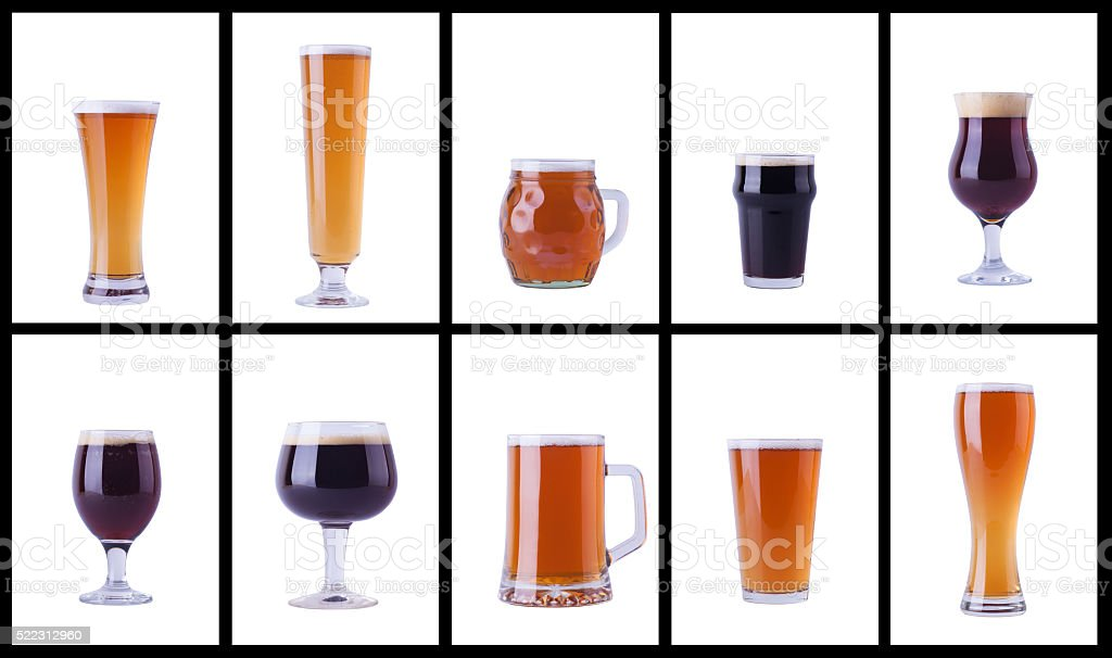 Beer glasses on white stock photo