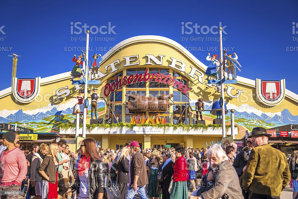 Beer Hall at Munich Oktoberfest stock photo