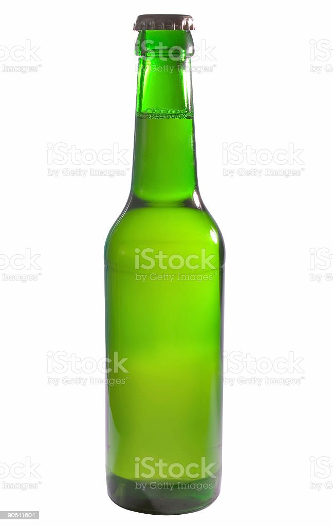 beer in a green bottle stock photo