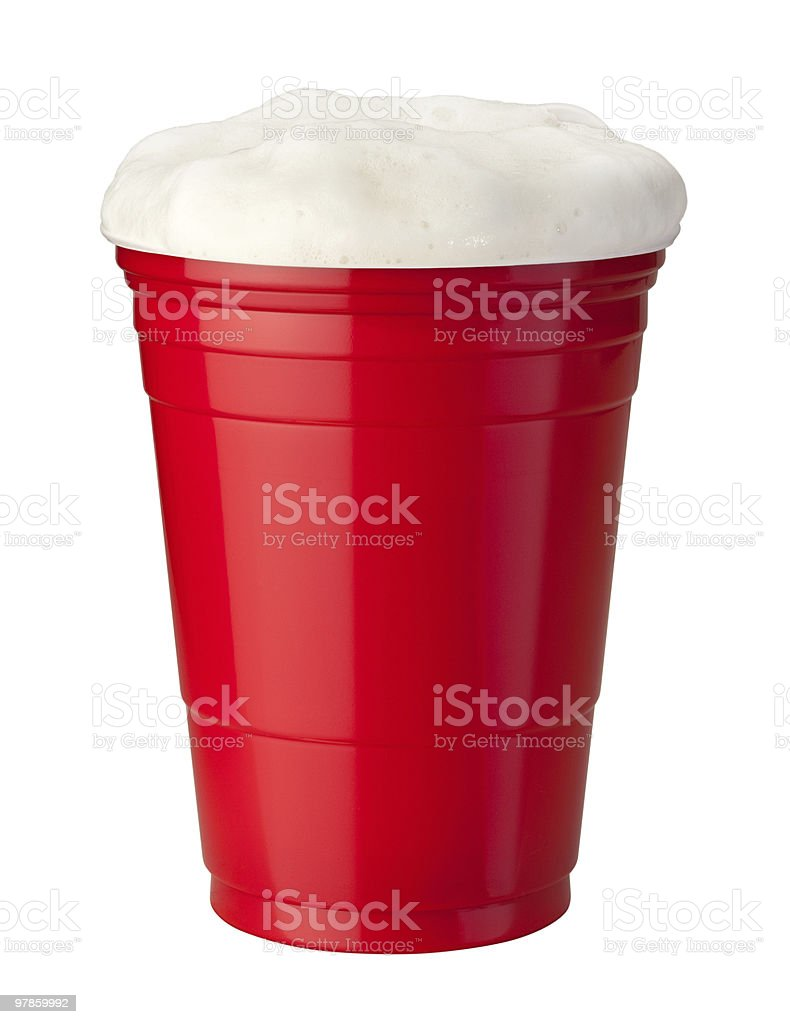 Beer in Plastic Cup stock photo