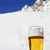 Beer in winter mountains