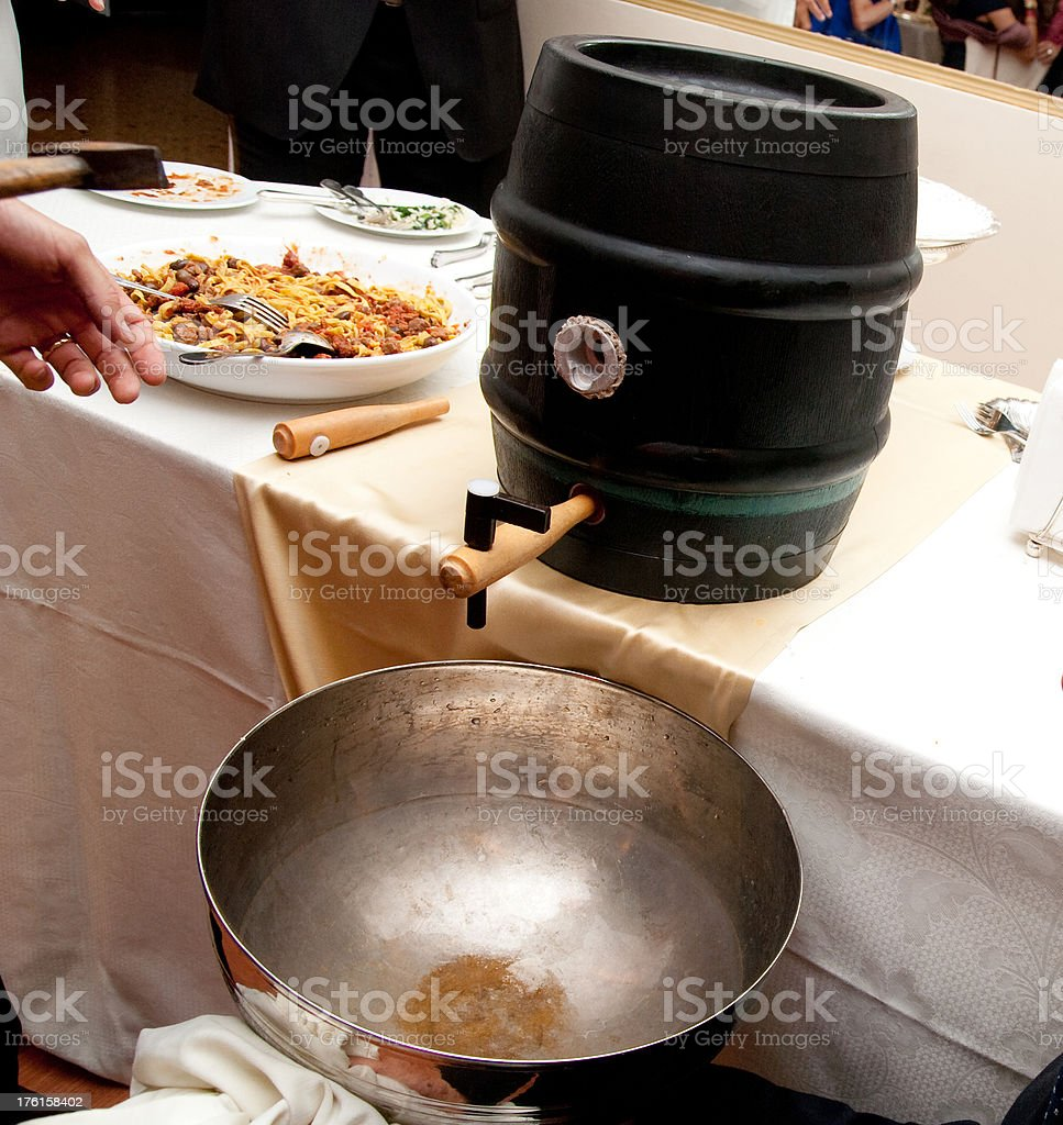 beer keg on catering buffet stock photo