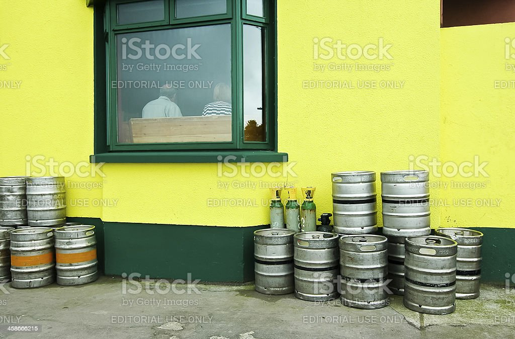 Beer Kegs at the Pub stock photo