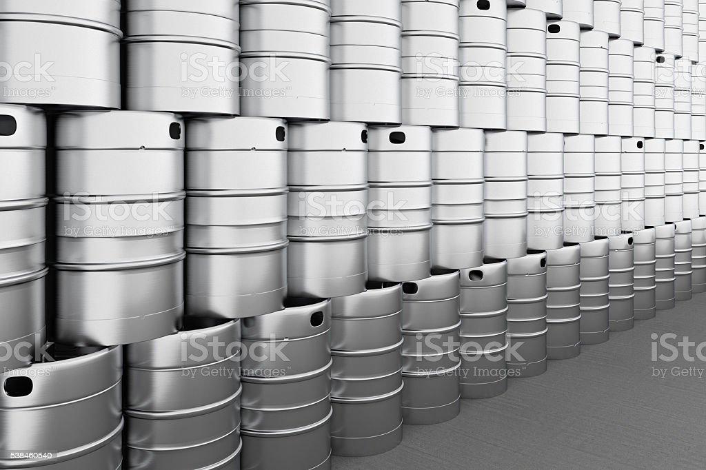 Beer kegs. stock photo