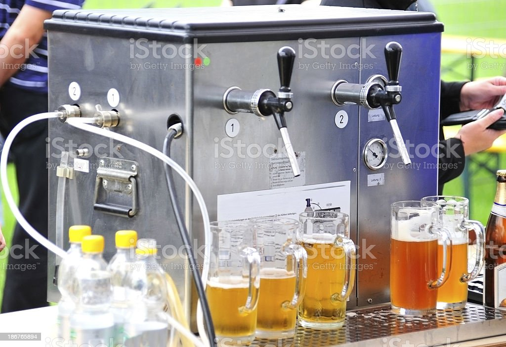beer mit Zapfanlage catering stock photo