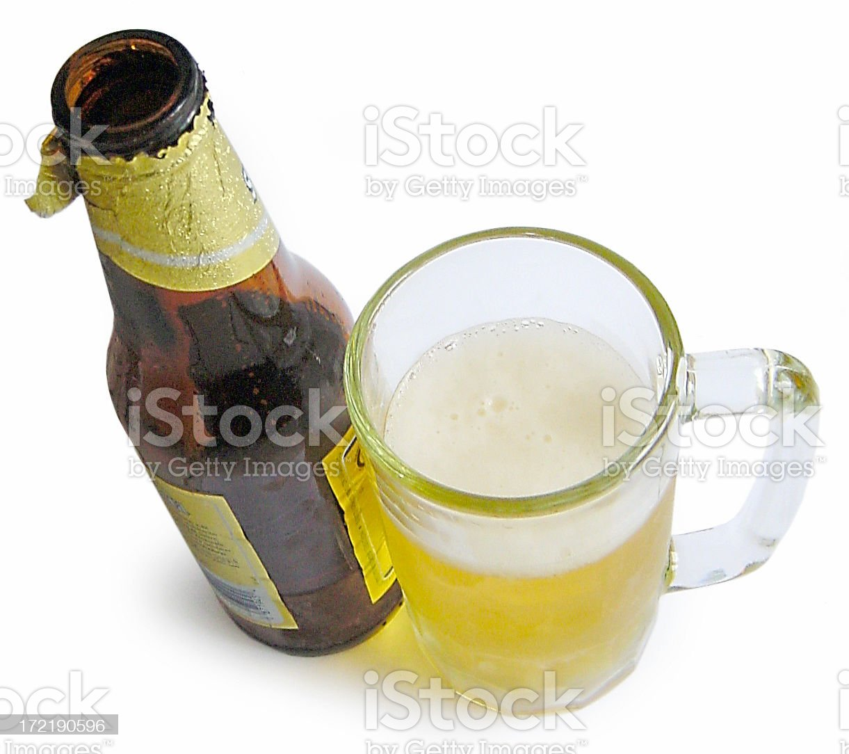 Beer mug and bottle royalty-free stock photo