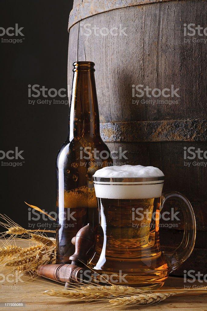 Beer mug and bottle royalty-free stock photo