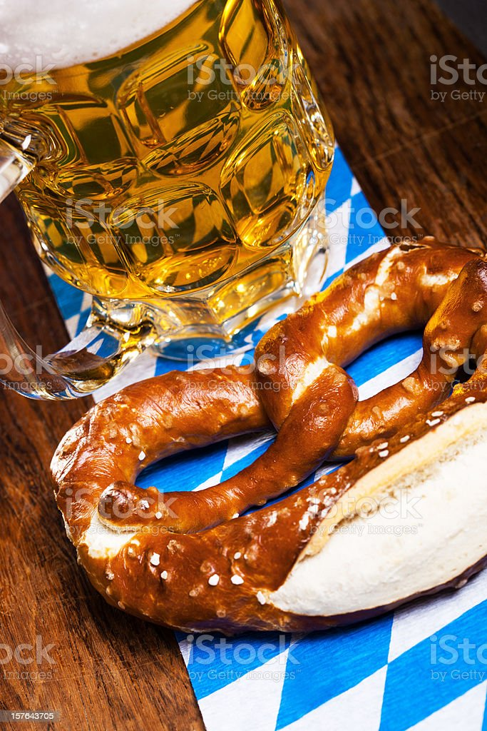 Beer mug and pretzel stock photo