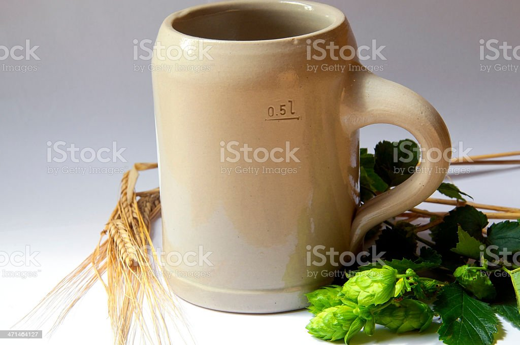 Beer Mug, Hops and Barley royalty-free stock photo