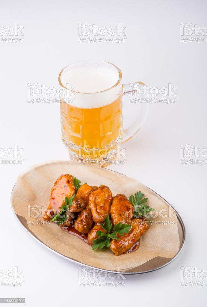 Beer mug with snacks stock photo
