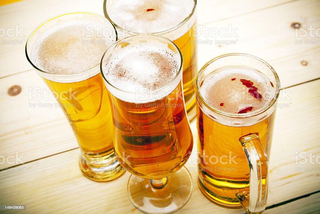 Beer mugs stock photo