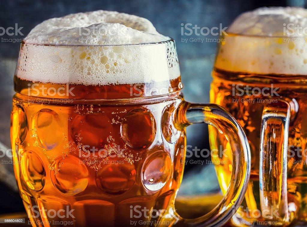 Beer. Oktoberfest.Two cold beers. Draft beer. Draft ale. stock photo