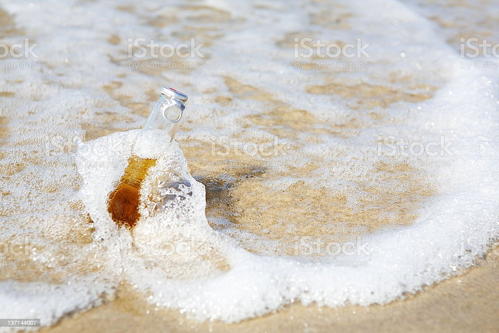 Beer on a Beach royalty-free stock photo